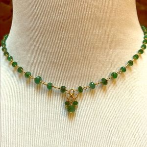 18k gold and emerald bead necklace
